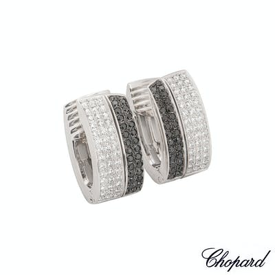 Chopard White Gold Diamond Set Hoop Earrings 844073-1001