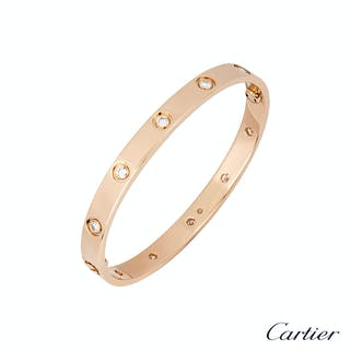 Cartier Rose Gold Full Diamond Love Bracelet Size 17 B6040617