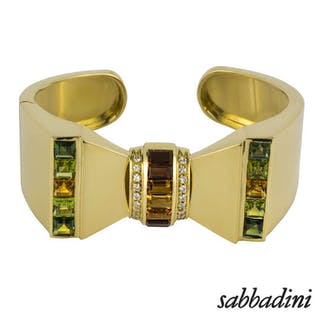 Sabbadini 18k Yellow Gold Multi Gemstone Set Bangle