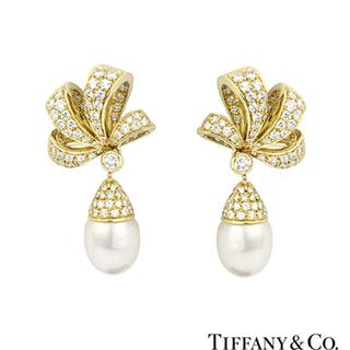 Tiffany & Co. 18k Yellow Gold Diamond and Pearl Earrings