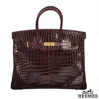 Herms Porosus Crocodile GHW 35cm Birkin Bag