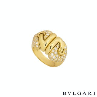 Bvlgari Yellow Gold Diamond Doppio Cuore Ring