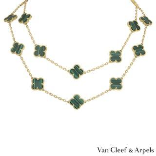 2d2a6b379ca Van Cleef & Arpels Yellow Gold Malachite Vintage Alhambra Necklace  VCARL88100