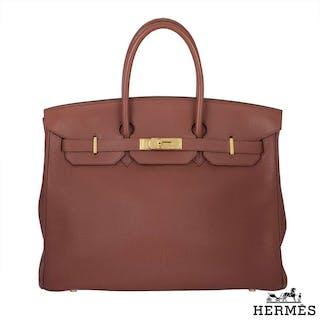 Hermes Birkin 35 cm Sienne Clemence Leather