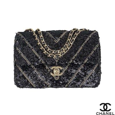 Chanel Chevron Sequin Bag