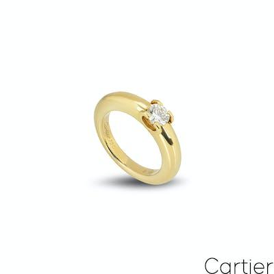 Cartier 18k Yellow Gold Diamond Ring 0.40ct G/VS1 B&P