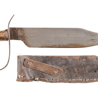 Unmarked Large Bowie Knife w/Sheath