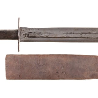 Large Unmarked Fighting Knife with Sheath