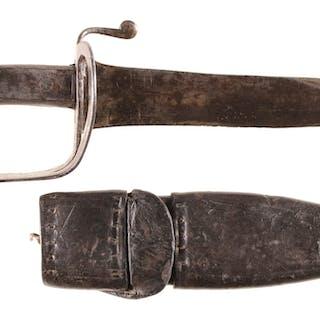 Unmarked Sword-Hilted Bowie Knife w/Sheath