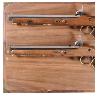 Cased Pair of P. Bondini Percussion Pistols