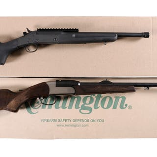 Two Single Shot Rifles with Boxes