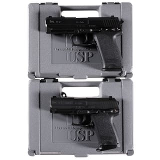 Two Heckler & Koch USP Semi-Automatic Pistols with Cases