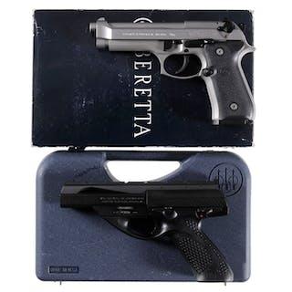 Two Beretta Semi-Automatic Pistols with Cases
