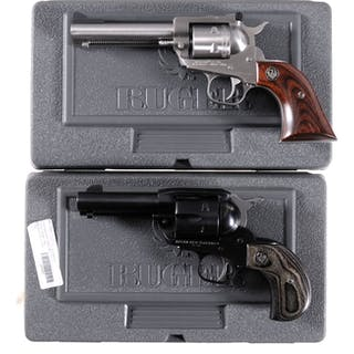 Two Ruger Single Action Revolvers with Cases
