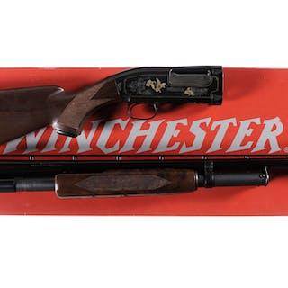 Engraved Winchester Model 12 Slide Action Shotgun with Box
