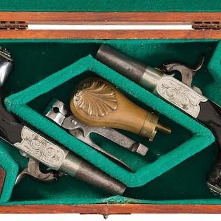 Pair of Belgian Breech Loading Percussion Pocket Pistol