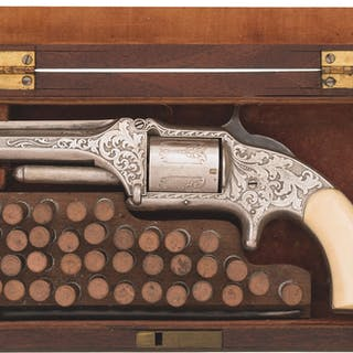 Etched Smith & Wesson Model 1 1/2 1st Issue Revolver with Case