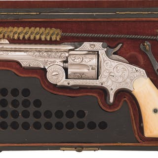 Engraved S&W 1st Model 38 Baby Russian Revolver, Case