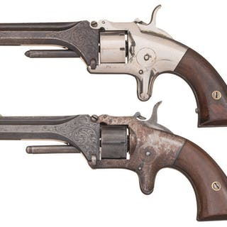 Two Factory Engraved Manhattan .22 Cal. Pocket Revolvers