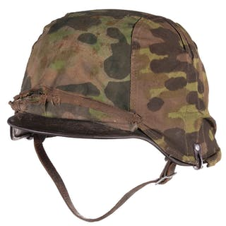 """1940 Stahlhelm, """"Germania"""" Decals, Early Camo Cover"""