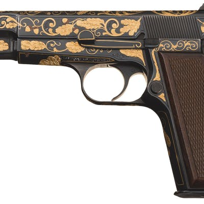 Virgil Graham Engraved Gold Inlaid Belgian Browning High Power