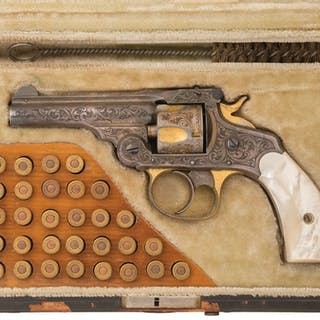 Engraved Silver/Gold Plated S&W 32 Double Action Revolver