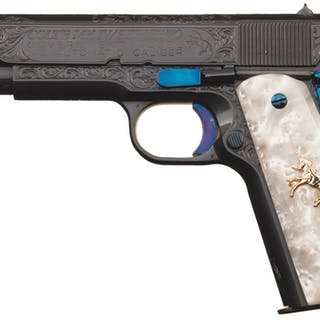 Engraved Colt Mk IV Series 70 Government Model Pistol