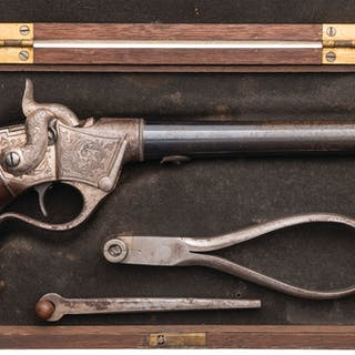Engraved Sharps Breech Loading Single Shot Pistol
