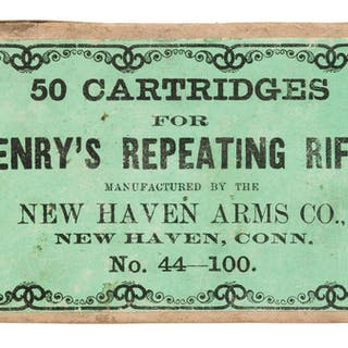 Scarce Fifty Round Box of New Haven Arms Co. .44 Henry Rimfire