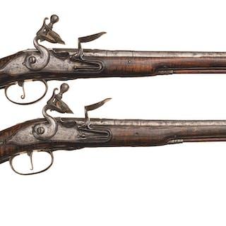 Engraved Pair English Late 17th Century Flintlock Horse Pistols