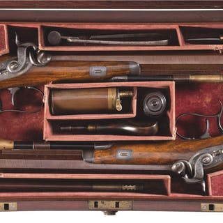 Cased Pair of Gardner Newcastle Percussion Dueling Pistols
