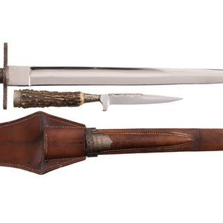German Hunting Knife Set, Two Knives with Paired Sheath