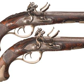 Pair of Double Barrel Flintlock Pistols