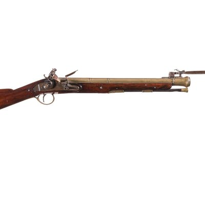 Brass Barreled H. Nock Flintlock Blunderbuss with Snap Bayonet