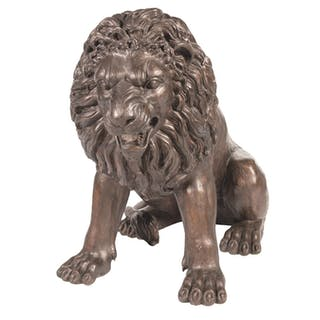 "Huge King of the Beast ""The Sitting Lion"" Bronze Signed ""Barye"""