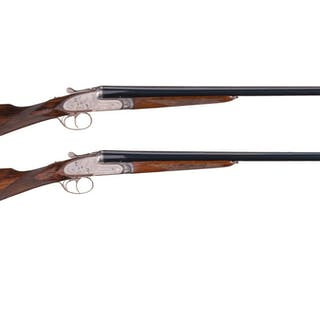 Matching Pair of Engraved Arrieta Side by Side 20 Gauge Shotguns