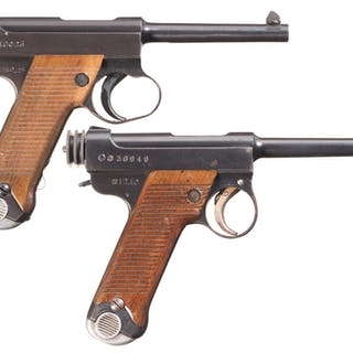 Two Japanese Type 14 Nambu Semi-Automatic Pistols with Holsters