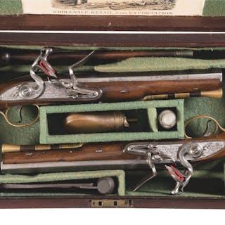 Cased Pair of Edwards of Dublin Flintlock Dueling Pistols