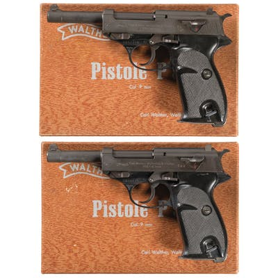 Two Consecutively Serial Numbered Boxed Walther P.38 Pistols