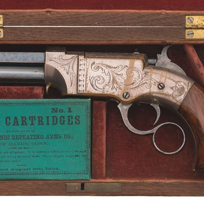 Cased Factory Engraved New Haven Arms Co. Volcanic No. 1 Pistol