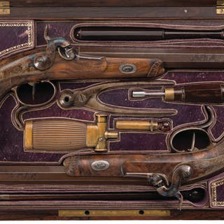 Cased Pair of Engraved Le Page Percussion Dueling/Target Pistols