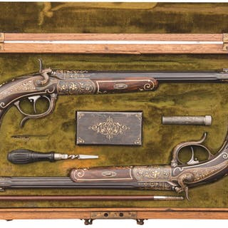 Exhibition Quality Pair of Miller & Val. Griess Target Pistols