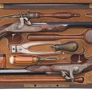 Cased Pair of Percussion Dueling/Target Pistols