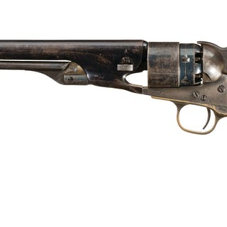 Colt Model 1860 Army Percussion Revolver with Relief Carved Grip