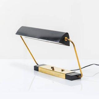 Lampada da tavolo in metallo verniciato e ottone