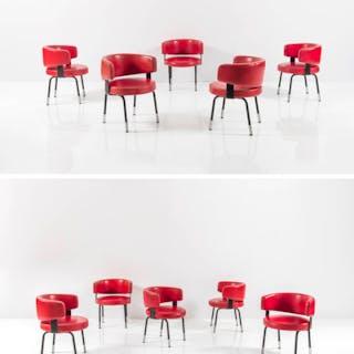 Dieci sedie con imbottitura rivestita in skai
