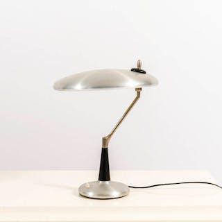 Lampada da tavolo in alluminio verniciato e ottone nichelato