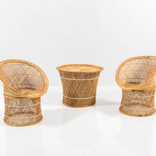 Coppia di poltroncine e tavolino in paglia e bamboo