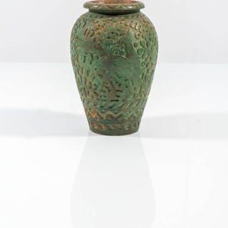 Portaombrelli in ceramica decorata a motivi vegetali