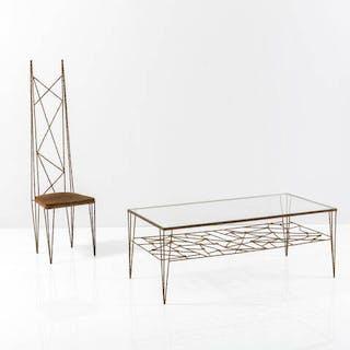 Tavolinino con sedia in ferro battuto e lavorato